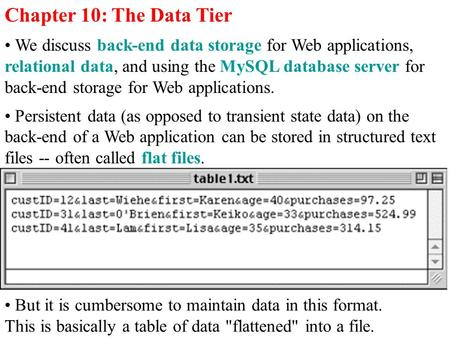 Chapter 10: The Data Tier We discuss back-end data storage for Web applications, relational data, and using the MySQL database server for back-end storage.
