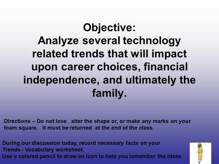 Objective: Analyze several technology related trends that will impact upon career choices, financial independence, and ultimately the family. Directions.