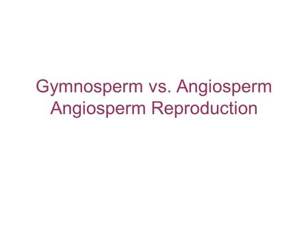 Gymnosperm vs. Angiosperm Angiosperm Reproduction.