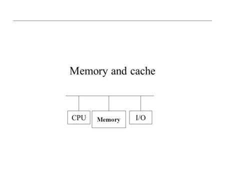 Memory and cache CPU Memory I/O. CEG 320/52010: Memory and cache2 The Memory Hierarchy Registers Primary cache Secondary cache Main memory Magnetic disk.