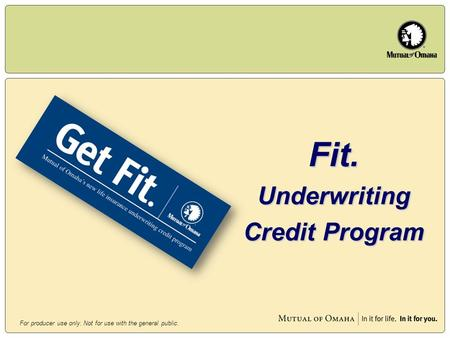 For producer use only. Not for use with the general public. Fit.Underwriting Credit Program.