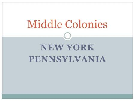 Middle Colonies New York Pennsylvania.