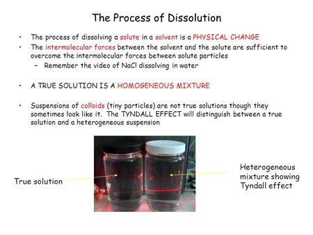 The Process of Dissolution The process of dissolving a solute in a solvent is a PHYSICAL CHANGE The intermolecular forces between the solvent and the solute.