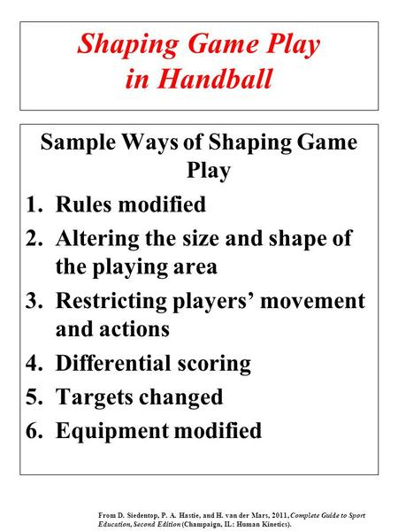 Shaping Game Play in Handball Sample Ways of Shaping Game Play 1.Rules modified 2.Altering the size and shape of the playing area 3.Restricting players'