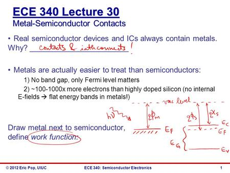 © 2012 Eric Pop, UIUCECE 340: Semiconductor Electronics ECE 340 Lecture 30 Metal-Semiconductor Contacts Real semiconductor devices and ICs always contain.