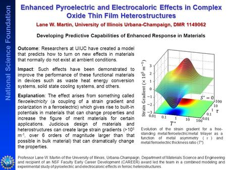 National Science Foundation Enhanced Pyroelectric and Electrocaloric Effects in Complex Oxide Thin Film Heterostructures Lane W. Martin, University of.