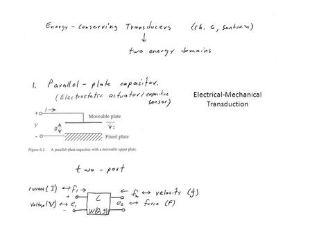 Electrical-Mechanical Transduction. For the generalized capacitor (potential energy): For a linear electrical capacitor: ε – permitivity A – area G.