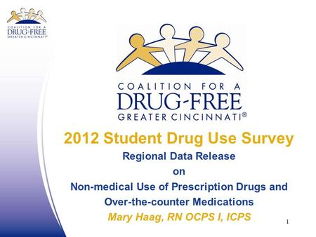 2012 Student Drug Use Survey Regional Data Release on Non-medical Use of Prescription Drugs and Over-the-counter Medications Mary Haag, RN OCPS I, ICPS.