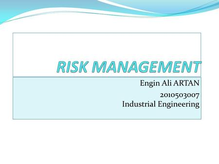 Engin Ali ARTAN 2010503007 Industrial Engineering.