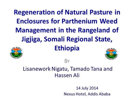 Regeneration of Natural Pasture in Enclosures for Parthenium Weed Management in the Rangeland of Jigjiga, Somali Regional State, Ethiopia B Y Lisanework.