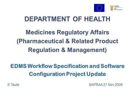 DEPARTMENT OF HEALTH Medicines Regulatory Affairs