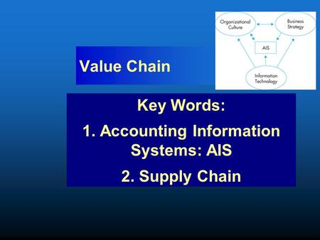 Value Chain Key Words: 1. Accounting Information Systems: AIS 2. Supply Chain.