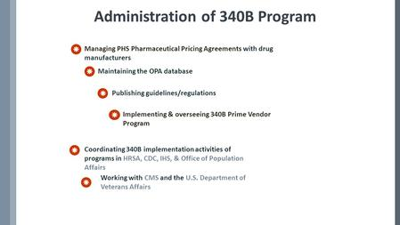 Coordinating 340B implementation activities of programs in HRSA, CDC, IHS, & Office of Population Affairs  Maintaining the OPA database  Publishing guidelines/regulations.