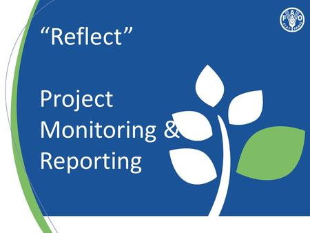 """Reflect"" Project Monitoring & Reporting. Monitoring Monitoring: a review of: Progress towards results Workplan and budget The external environment (relevance."