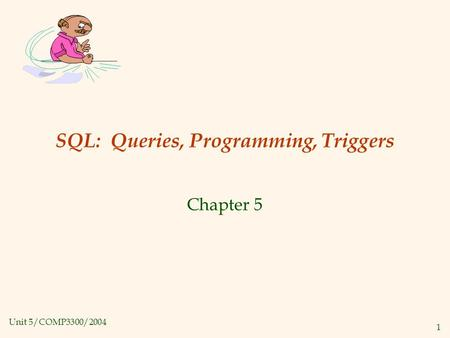 Unit 5/COMP3300/2004 1 SQL: Queries, Programming, Triggers Chapter 5.