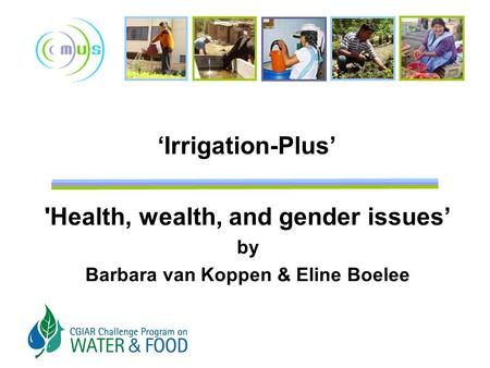 'Irrigation-Plus' 'Health, wealth, and gender issues' by Barbara van Koppen & Eline Boelee.
