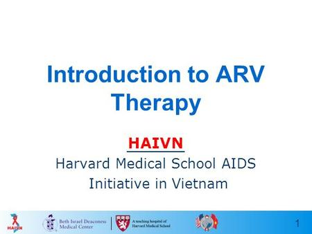 1 Introduction to ARV Therapy HAIVN Harvard Medical School AIDS Initiative in Vietnam.