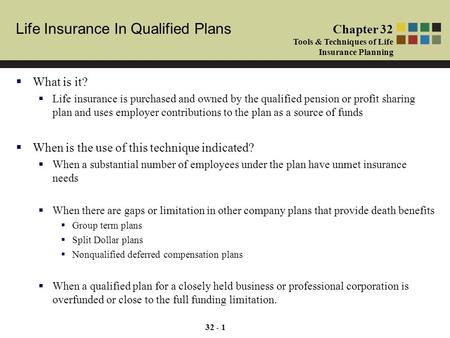 Life Insurance In Qualified Plans Chapter 32 Tools & Techniques of Life Insurance Planning 32 - 1  What is it?  Life insurance is purchased and owned.