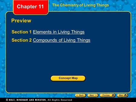 Chapter 11 Preview Section 1 Elements in Living Things