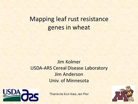 Mapping leaf rust resistance genes in wheat Jim Kolmer USDA-ARS Cereal Disease Laboratory Jim Anderson Univ. of Minnesota Thanks to Kun Xiao, Jen Flor.