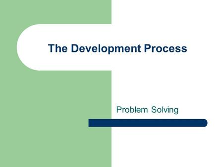 The Development Process Problem Solving. Problem Solving - Dr. Struble 2 What Is Asked of Computer Programmers? Input Transformation Output Write a computer.