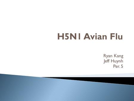 Ryan Kang Jeff Huynh Per. 5.  Virus  Subtype H5N1 influenza A strain  Usually unlikely to transfer from birds to humans  Human to Human infection.