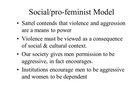 Social/pro-feminist Model Sattel contends that violence and aggression are a means to power Violence must be viewed as a consequence of social & cultural.