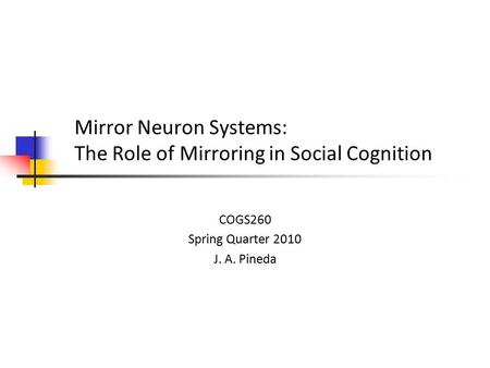 Mirror Neuron Systems: The Role of Mirroring in Social Cognition COGS260 Spring Quarter 2010 J. A. Pineda.