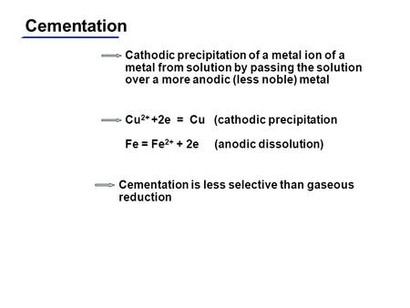 Cementation Cathodic precipitation of a metal ion of a metal from solution by passing the solution over a more anodic (less noble) metal Cu 2+ +2e = Cu.