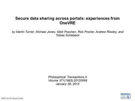 Secure data sharing across portals: experiences from OneVRE by Martin Turner, Michael Jones, Meik Poschen, Rob Procter, Andrew Rowley, and Tobias Schiebeck.