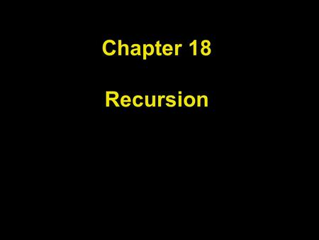 Chapter 18 Recursion. Chapter Goals To learn about the method of recursion To understand the relationship between recursion and iteration To analyze problems.