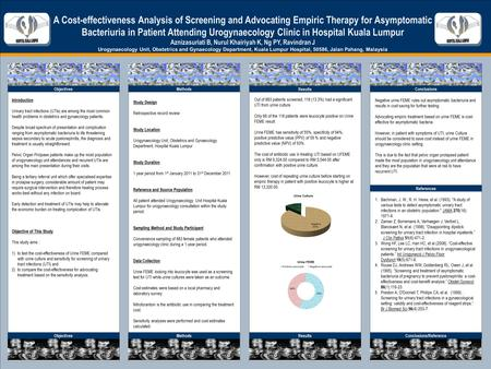 TEMPLATE DESIGN © 2008 www.PosterPresentations.com A Cost-effectiveness Analysis of Screening and Advocating Empiric Therapy for Asymptomatic Bacteriuria.