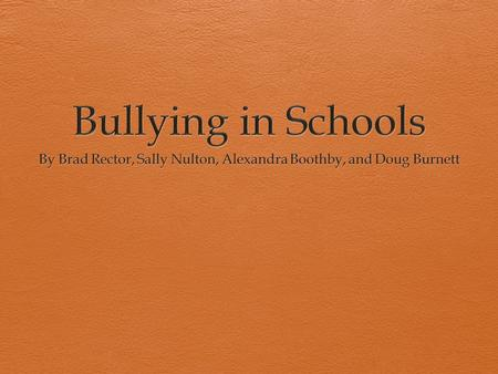 What Is Bullying?  Bullying is a form of aggressive behavior that is intentional, hurtful, (physical and psychological), and/or threatening and persistent.