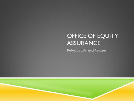 OFFICE OF EQUITY ASSURANCE Rebecca Salerno, Manager.