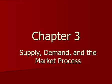 Chapter 3 Supply, Demand, and the Market Process.