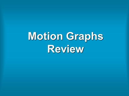 Motion Graphs Review. Interpret The Graph Below: