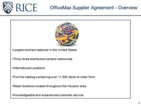 0 OfficeMax Supplier Agreement - Overview Largest contract stationer in the United States Thirty-three distribution centers nationwide International Locations.