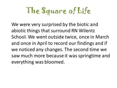 The Square of Life We were very surprised by the biotic and abiotic things that surround RN Wilentz School. We went outside twice, once in March and once.