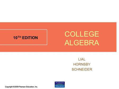 3.2 - 1 10 TH EDITION LIAL HORNSBY SCHNEIDER COLLEGE ALGEBRA.