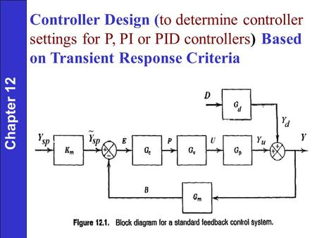 Controller Design (to determine controller settings for P, PI or PID controllers) Based on Transient Response Criteria Chapter 12.