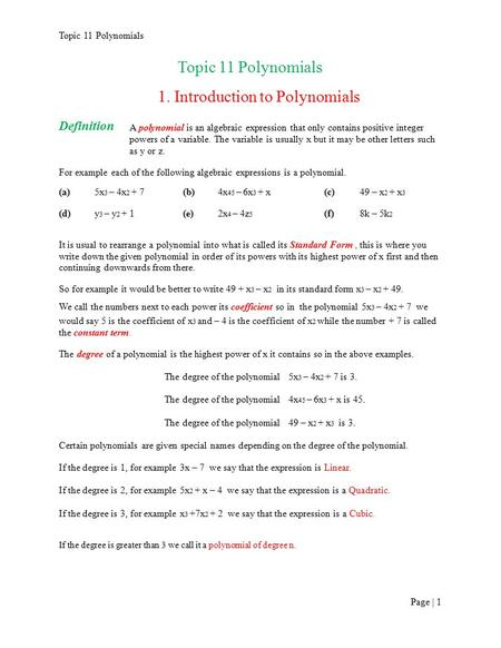 1. Introduction to Polynomials