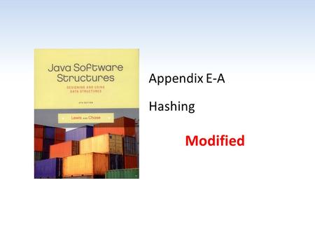 Appendix E-A Hashing Modified. Chapter Scope Concept of hashing Hashing functions Collision handling – Open addressing – Buckets – Chaining Deletions.