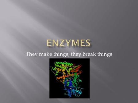 They make things, they break things.  What are some of the subjects that were covered in lecture this semester?  Which of these topics involve enzymes?