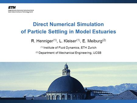 Direct Numerical Simulation of Particle Settling in Model Estuaries R. Henniger (1), L. Kleiser (1), E. Meiburg (2) (1) Institute of Fluid Dynamics, ETH.