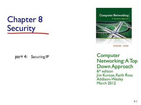 8-1 Chapter 8 Security Computer Networking: A Top Down Approach 6 th edition Jim Kurose, Keith Ross Addison-Wesley March 2012 part 4: Securing IP.