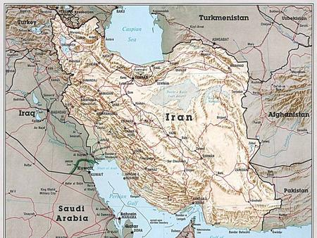 Iran. A. The LAND: IRAN is a relatively flat desert country in the center, but it is quite hilly in the north and southwest.