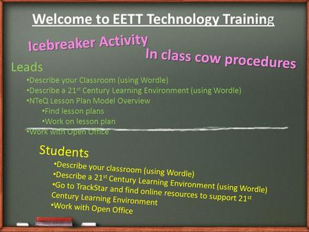 Welcome to EETT Technology Training Icebreaker Activity Leads Describe your Classroom (using Wordle) Describe a 21 st Century Learning Environment (using.
