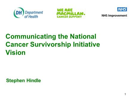 1 Communicating the National Cancer Survivorship Initiative Vision Stephen Hindle.