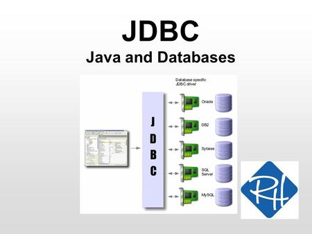 JDBC Java and Databases. RHS – SOC 2 JDBC JDBC – Java DataBase Connectivity An API (i.e. a set of classes and methods), for working with databases in.