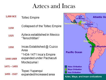 "Aztecs and Incas 1,000 BCE 1150 1325 1350 1440-1469 1471 – 1493 1493 - 1527 Toltec Empire Collapsed of the Toltec Empire Aztecs established in Mexico ""Tenochtitlan"""